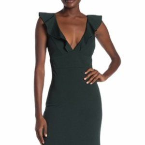 JUMP Ruffled V-Neck Crepe Gown Forest Green Sz XL